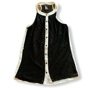 Lace black and white high neck button down shirt
